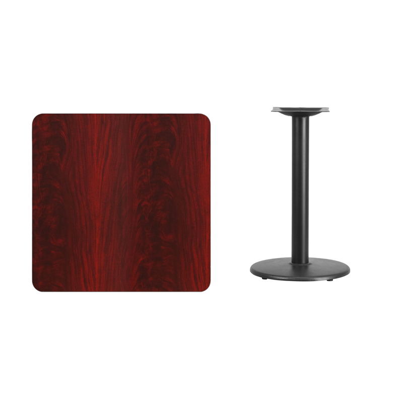 #242 - 30'' SQUARE MAHOGANY LAMINATE TABLE TOP WITH 18'' ROUND TABLE HEIGHT BASE