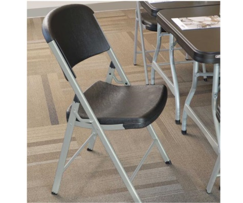 #10 - (32 PACK) Commercial Contoured Folding Chair in Black with Silver Frame