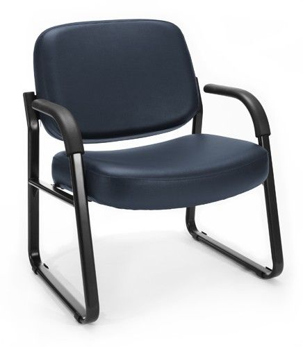 #100 - Big & Tall Anti-Microbial Anti-Bacterial Navy Vinyl Guest Reception Chair w/Arms
