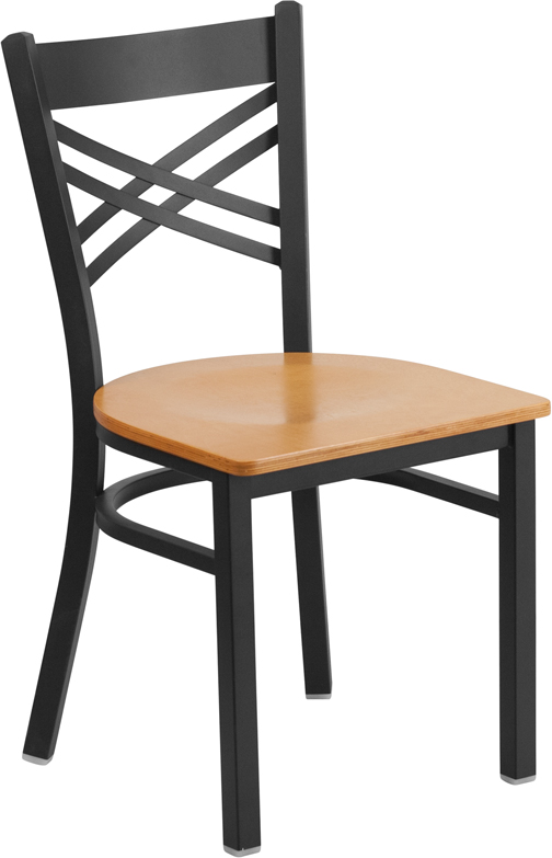 #26 - Black ''X'' Back Metal Restaurant Chair with a Natural Finish Wood Seat