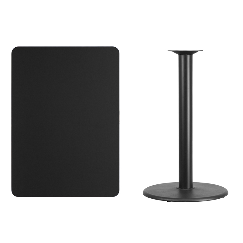 #169 - 30'' X 42'' RECTANGULAR BLACK LAMINATE TABLE TOP WITH 24'' ROUND BAR HEIGHT BASE