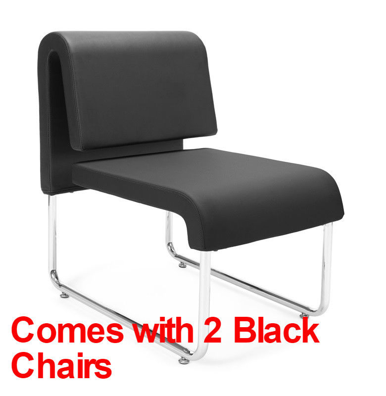 #69 - (3 PCS) UNO Series Lounge Package with Black Chairs & Asian Night Table