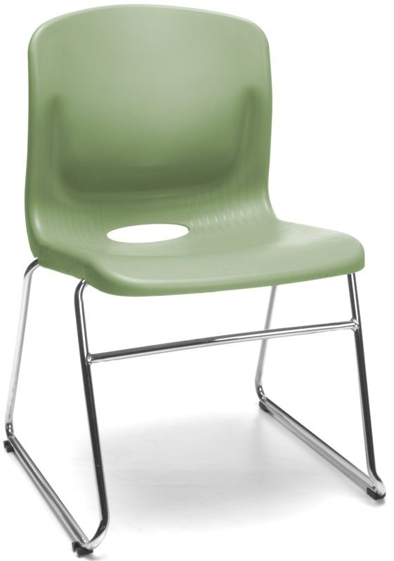 #133 - Multi-Use Plastic Seat and Back Stacker Chair in Olive
