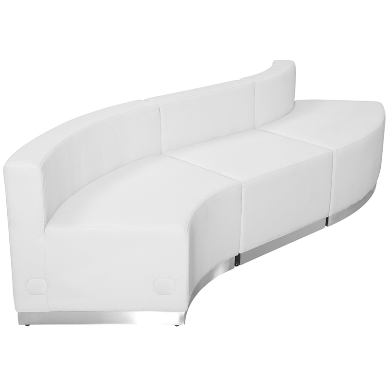 #64 - LOUNGE SERIES WHITE LEATHER RECEPTION CONFIGURATION, 3 PIECES