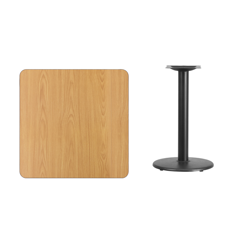 #244 - 30'' SQUARE NATURAL LAMINATE TABLE TOP WITH 18'' ROUND TABLE HEIGHT BASE