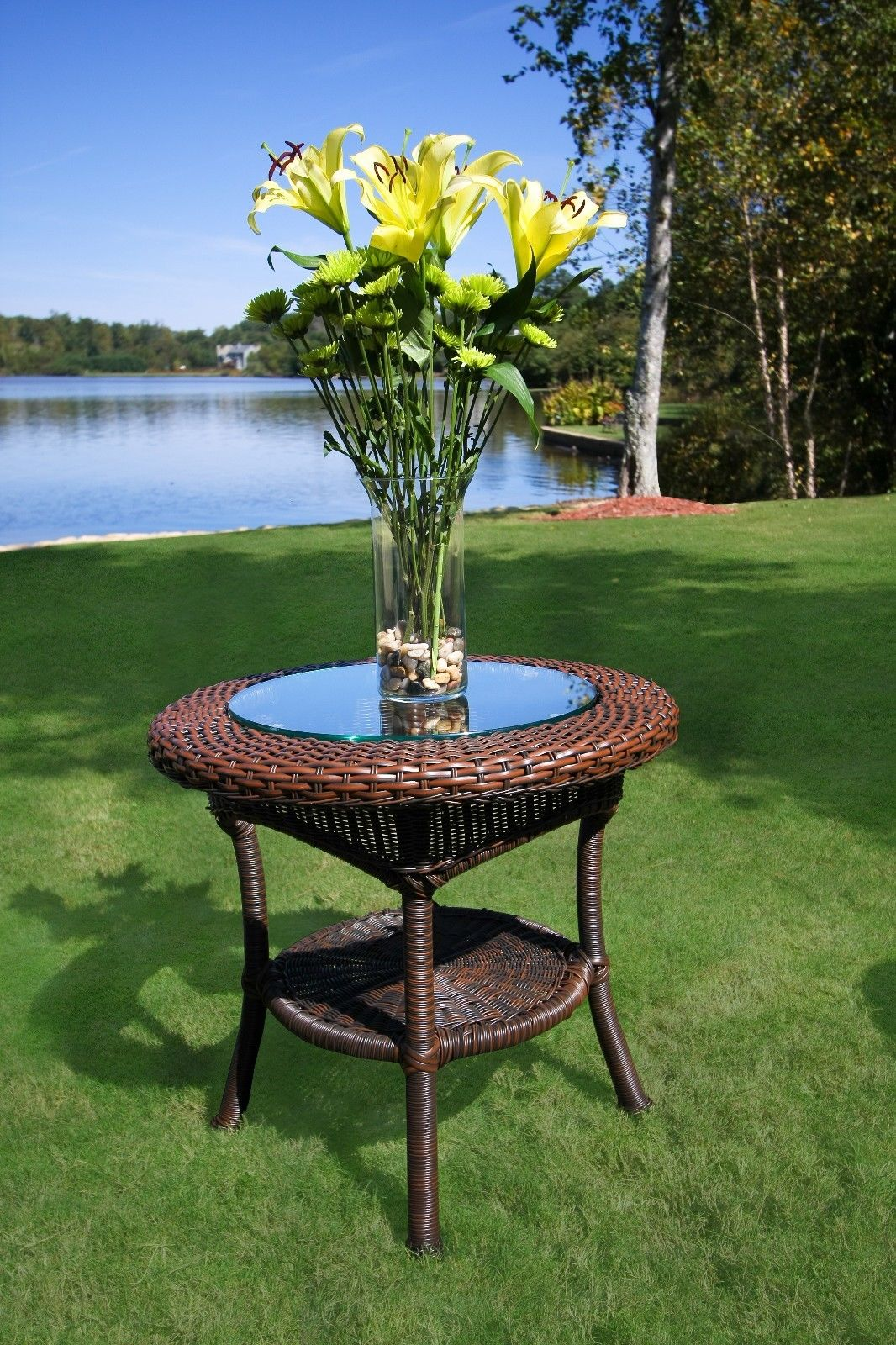 #123 - Outdoor Patio Garden Furniture Java Resin Wicker Side Table with Aluminum Frame