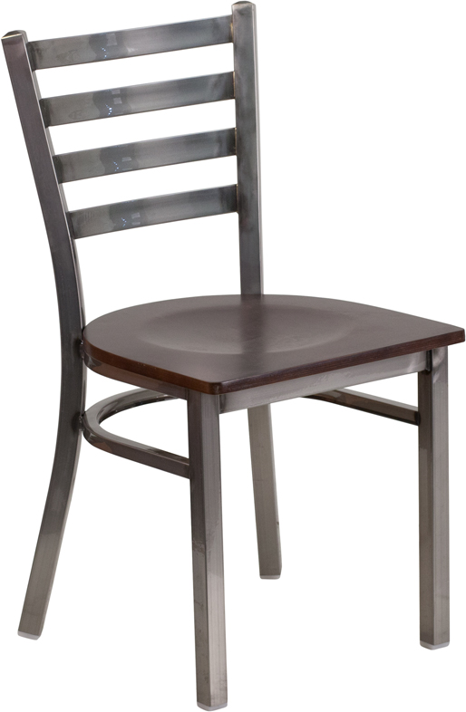 #77 - Clear Coated Ladder Back Metal Restaurant Chair with Walnut Wood Seat