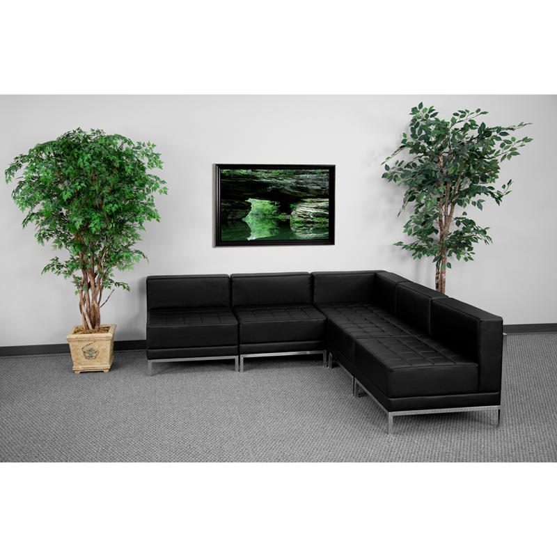 #40 - 5 Piece Imagination Series Black Leather Sectional Configuration