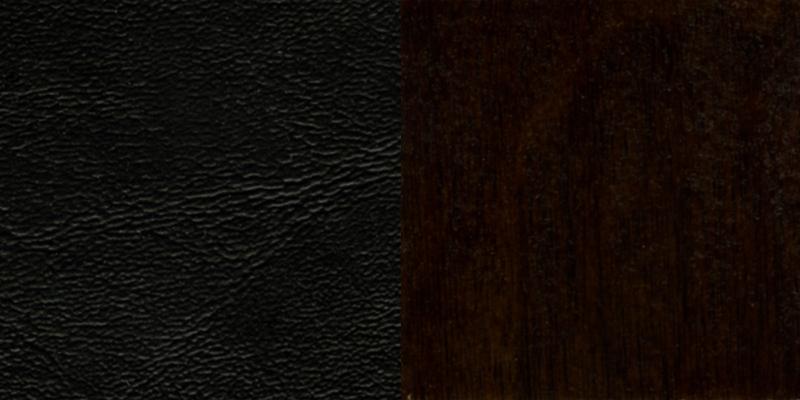 #35 - WALNUT FINISHED LADDER BACK WOODEN RESTAURANT BAR STOOL WITH BLACK VINYL SEAT