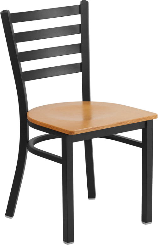 #71 - Black Ladder Back Metal Restaurant Chair with a Natural Finish Wood Seat