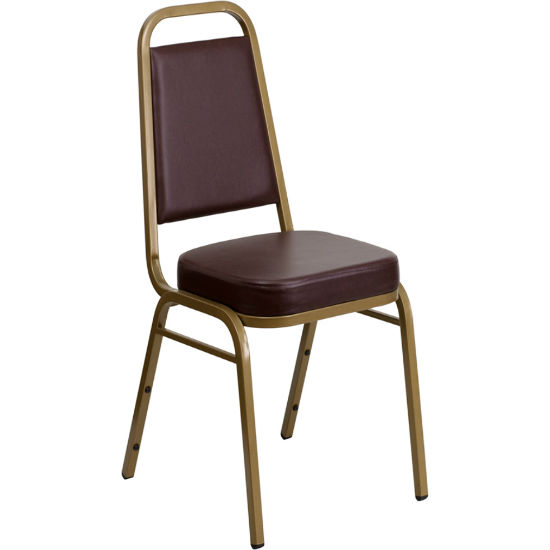 #10 - TRAPEZOIDAL BACK BANQUET CHAIR WITH BROWN VINYL AND GOLD VEIN FRAME
