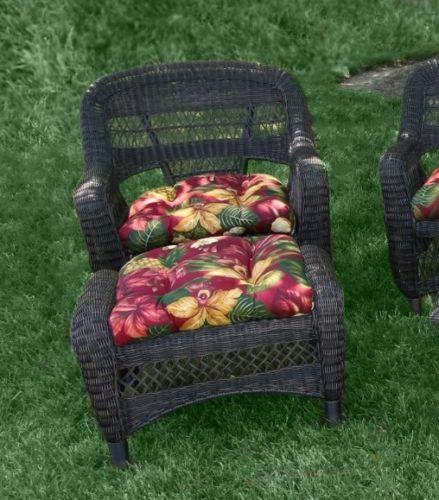 #22 - 6 Piece Outdoor Patio Dark Roast Resin Wicker Dining Set with Mauna Loa Fabric