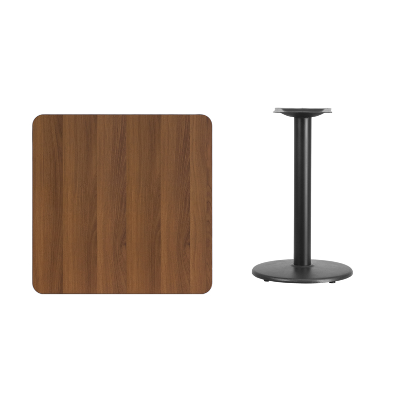 #246 - 30'' SQUARE WALNUT LAMINATE TABLE TOP WITH 18'' ROUND TABLE HEIGHT BASE