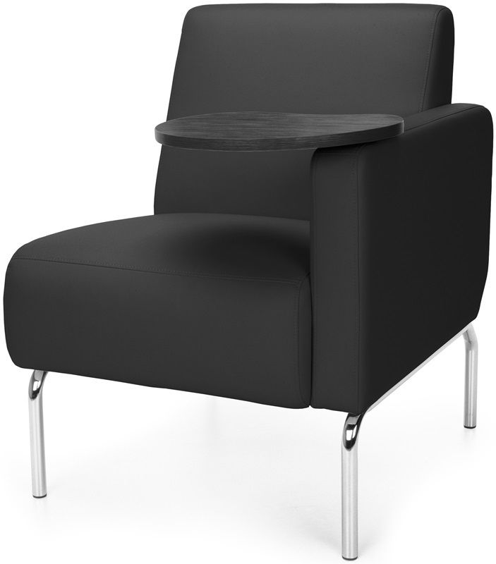 #181 - Left Arm Modular Lounge Chair with Black Vinyl Seat with Tungsten Finish Tablet