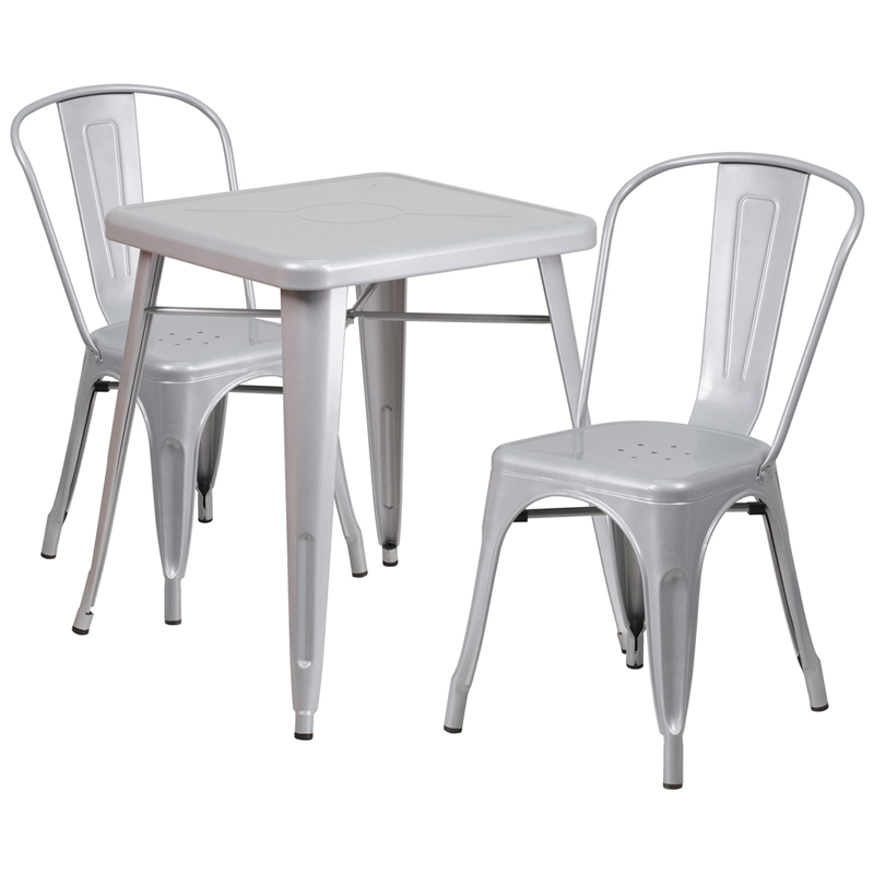 #146 - 23.75'' Silver Metal Indoor-Outdoor Table Set w/ 2 Stack Chairs