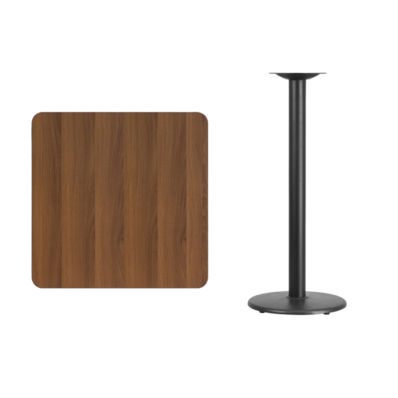 #247 - 30'' SQUARE WALNUT LAMINATE TABLE TOP WITH 18'' ROUND BAR HEIGHT BASE