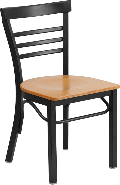 #63 - Black Ladder Back Metal Restaurant Chair with a Natural Finished Wood Seat