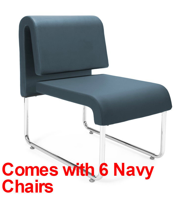 #48 - (9 PCS)UNO Series Lounge Package with Navy Chairs & Painted Screen Tables