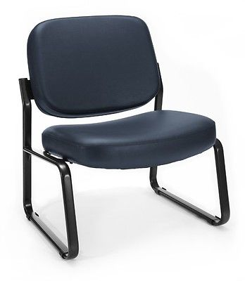 #105 - Big & Tall Navy Vinyl Anti-Microbial Anti-Bacterial Guest Reception Chair