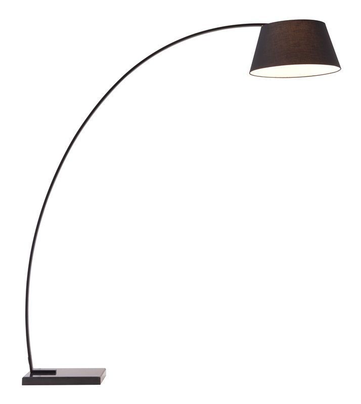 #106 - Modern Wide Stance Arm Lamp in Black Finished Metal & Marble Base - Home Decor