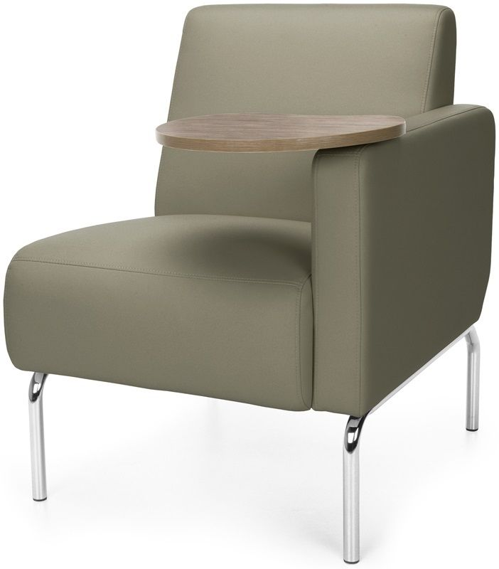 #182 - Left Arm Modular Lounge Chair with Taupe Vinyl Seat with Bronze Finish Tablet