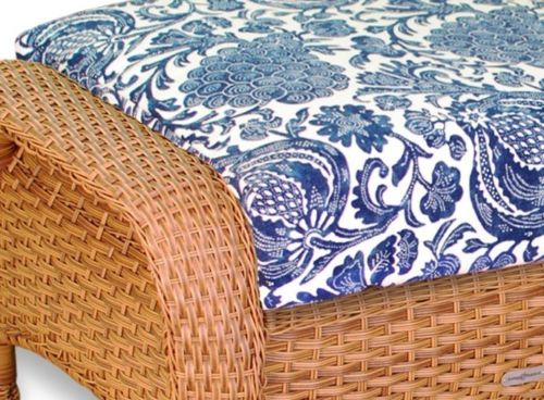 #124 - Outdoor Patio Garden Furniture Mojave Resin Wicker Ottoman in Inoteka Indigo