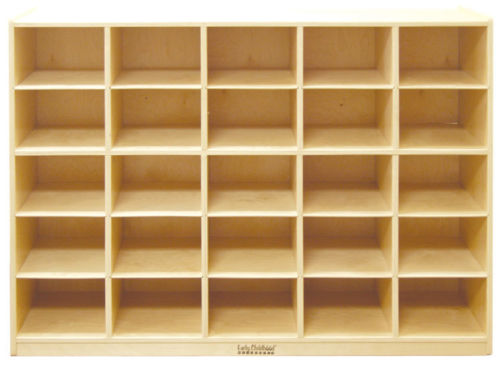 #26 - 25 Tray Birch Storage Cabinet with 25 Sand Colored Bins