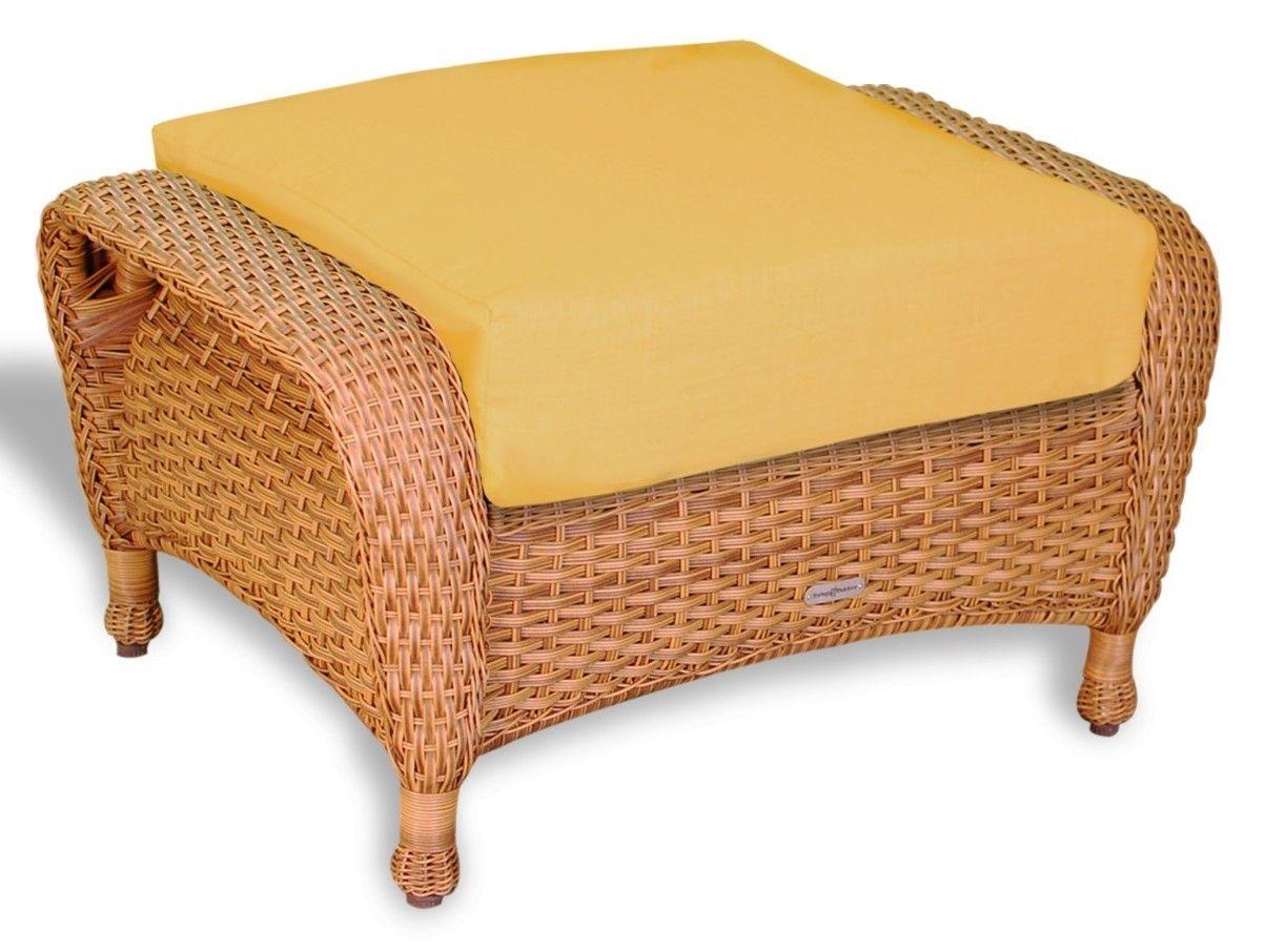 #125 - Outdoor Patio Garden Furniture Mojave Resin Wicker Ottoman in Rave Lemon