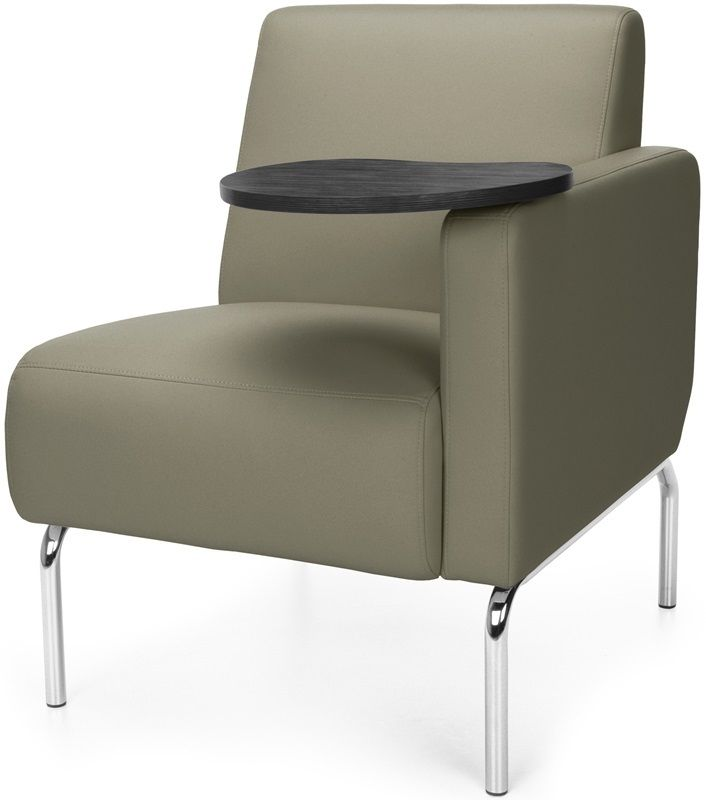 #183 - Left Arm Modular Lounge Chair with Taupe Vinyl Seat with Tungsten Finish Tablet