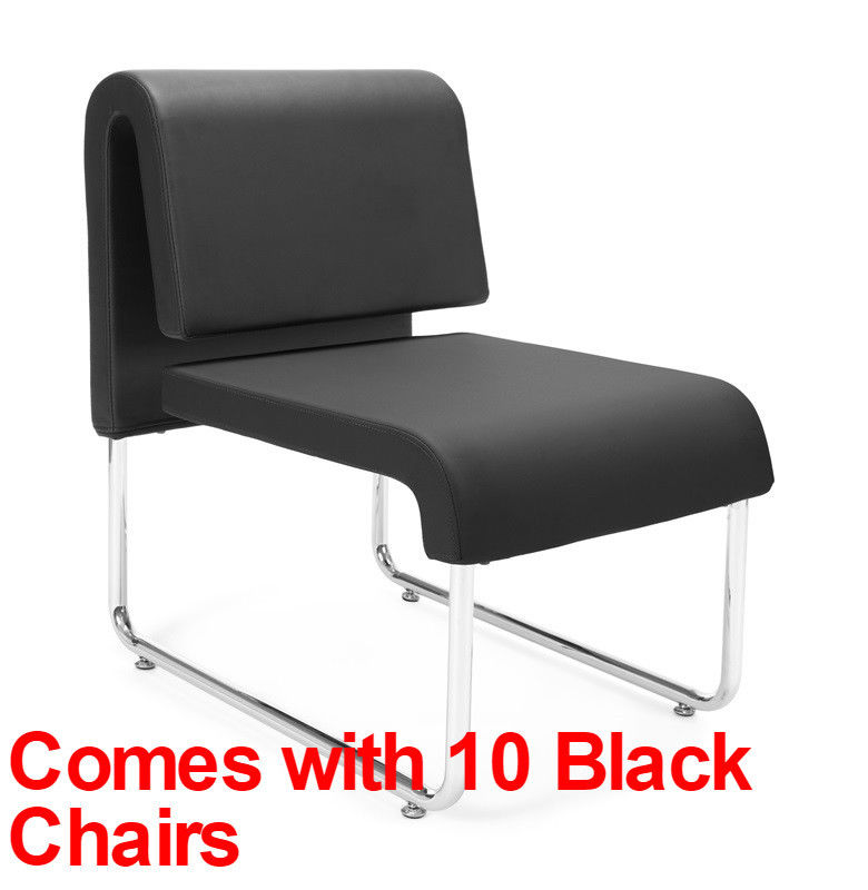 #19 - (15 PCS)UNO Series Lounge Circle Package w/Black Chairs & Painted Screen Tables