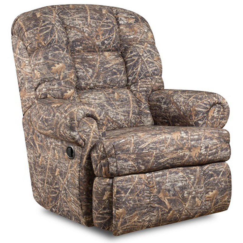 #4 - BIG AND TALL 350 LB. CAPACITY CAMOUFLAGED ENCORE CONCEAL BROWN FABRIC RECLINER