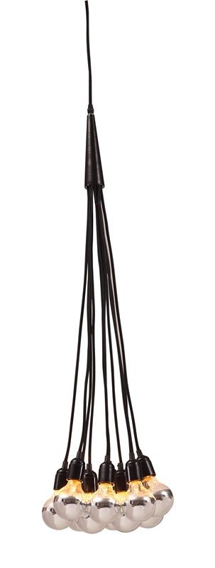 #108 - Stylish Chrome Dipped Bulbs in Bouquet of Black Cords Ceiling Lamp - Home Decor