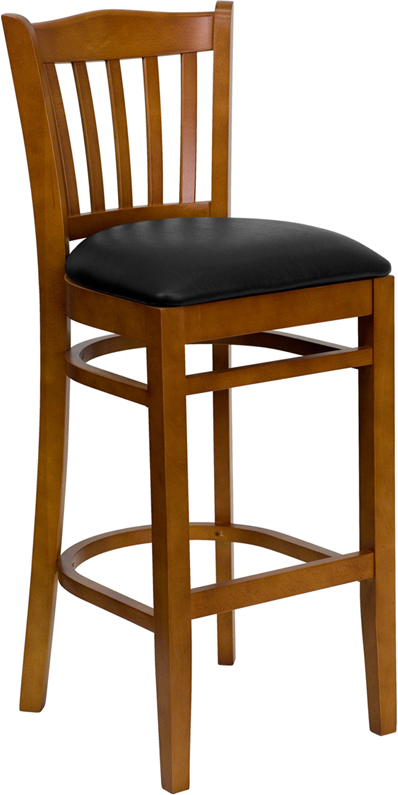 #13 - CHERRY WOOD FINISHED VERTICAL SLAT BACK RESTAURANT BAR STOOL WITH BLACK VINYL