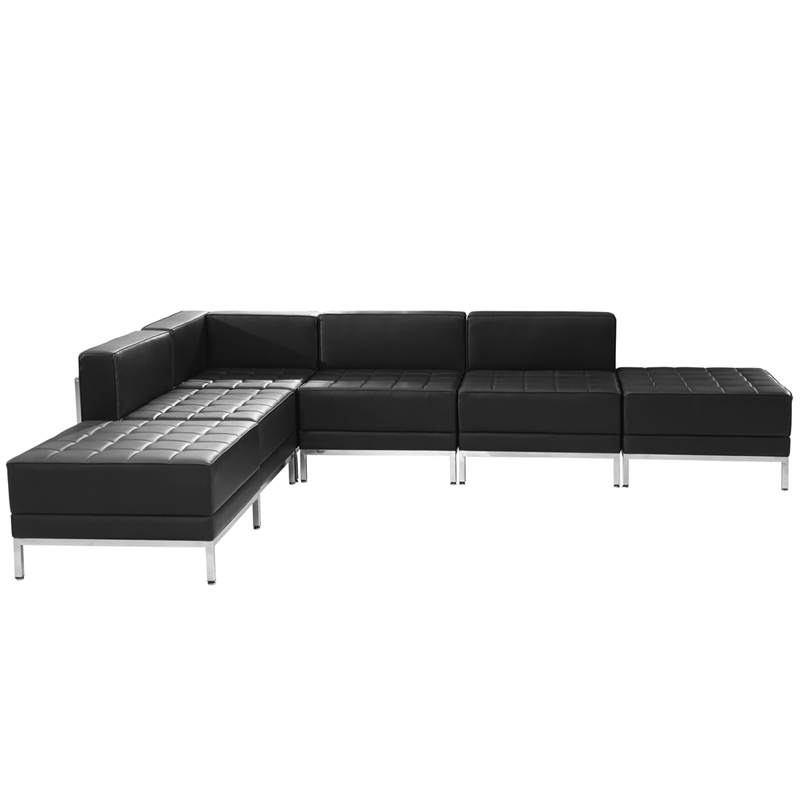 #41 - 6 Piece Imagination Series Black Leather Sectional Configuration