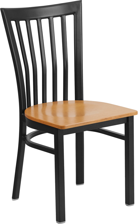 #57 - Black School House Back Metal Restaurant Chair with a Natural Finished Wood Seat