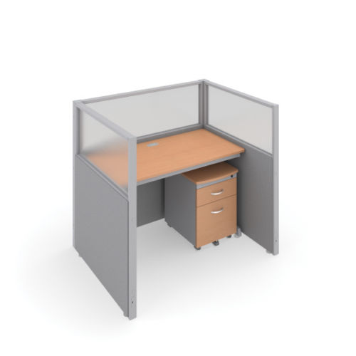 #2 - 47'' H x 48'' W Rize 1 Office Cubicle WorkStation in Beige Vinyl w/Maple Finish