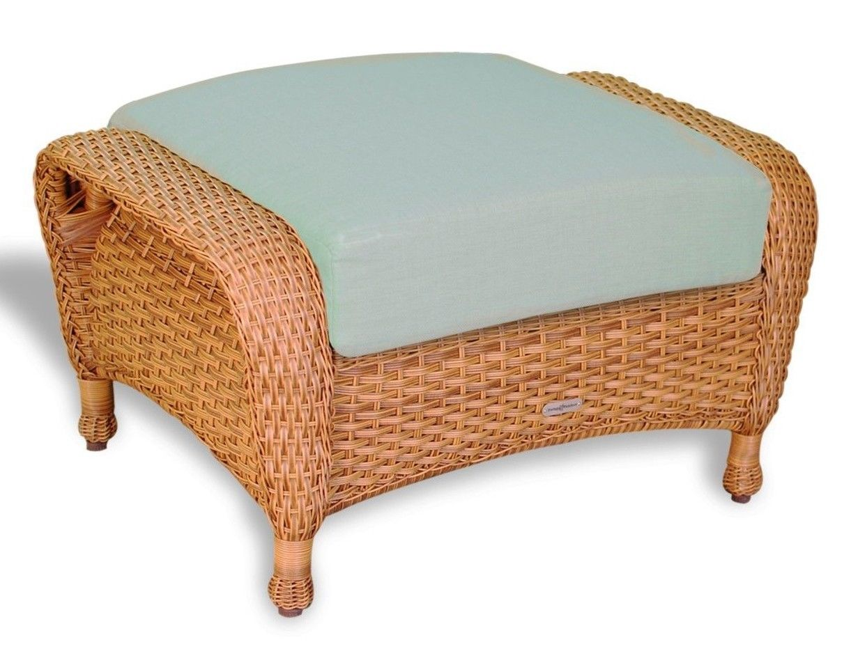 #126 - Outdoor Patio Garden Furniture Mojave Resin Wicker Ottoman in Rave Spearmint