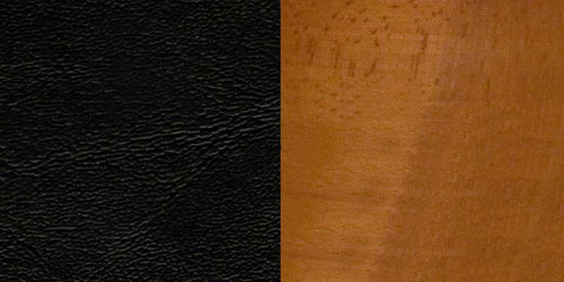 #13 - CHERRY WOOD FINISHED VERTICAL SLAT BACK RESTAURANT BAR STOOL WITH BLACK VINYL