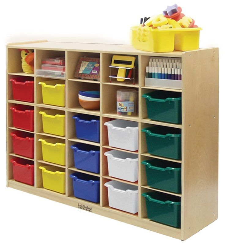 #28 - 25 Tray Birch Storage Cabinet with 25 Assorted Bins