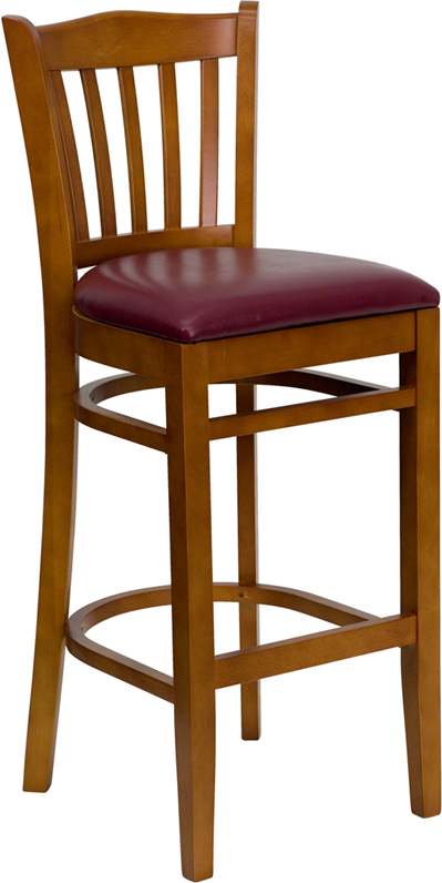 #14 - CHERRY WOOD FINISHED VERTICAL SLAT BACK RESTAURANT BAR STOOL WITH BURGUNDY VINYL