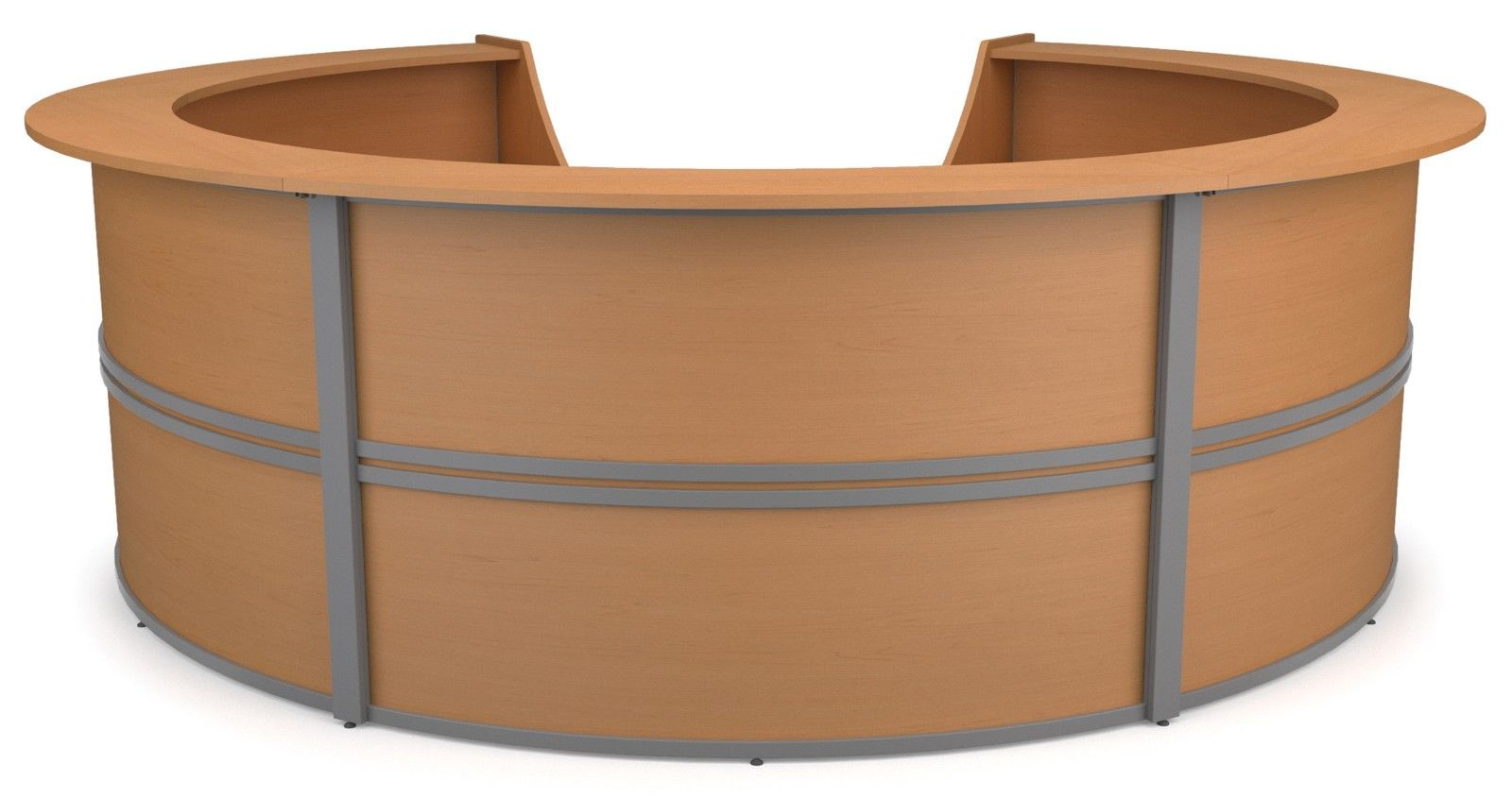 #39 - Marque 5-Unit Reception Station in Maple Finish - Circular Reception Front Desk