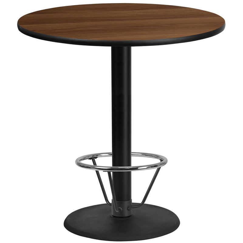 #100 - 42'' Round Walnut Laminate Table Top with 24'' Round Bar Height Table Base and Foot Ring