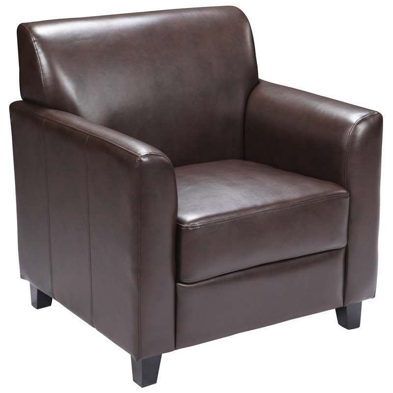 #77 - DIPLOMAT SERIES BROWN LEATHER CHAIR