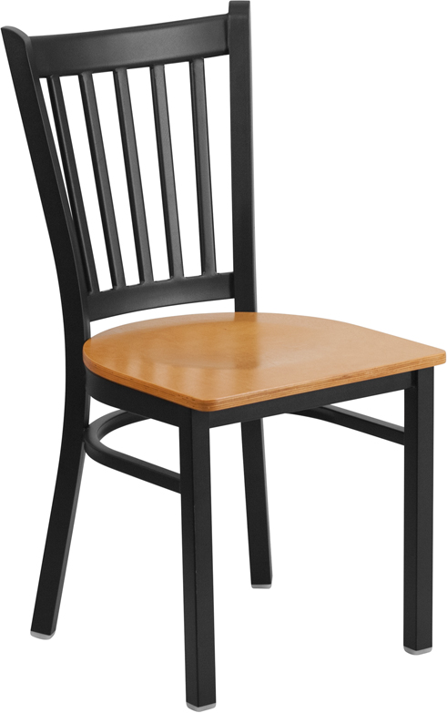 #51 - Black Vertical Back Metal Restaurant Chair with a Natural Finished Wood Seat