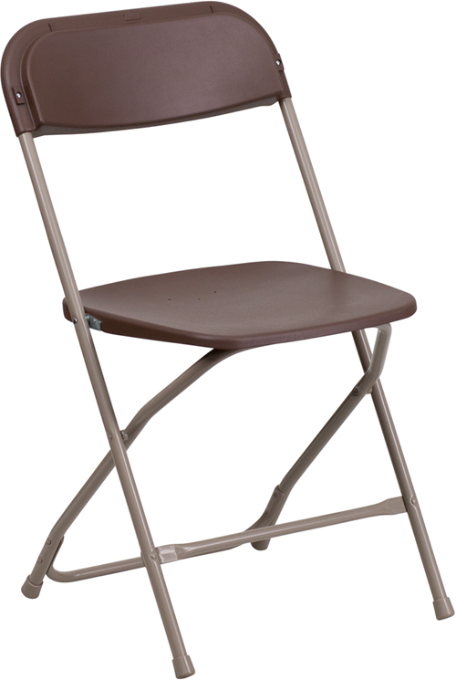 #3 - 650 LB. CAPACITY  BROWN PLASTIC FOLDING CHAIR