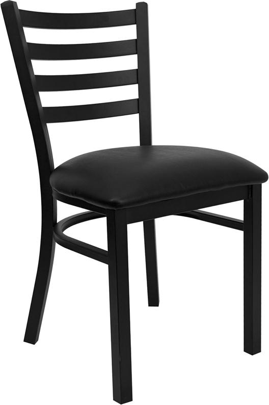#66 - BLACK LADDER BACK METAL RESTAURANT CHAIR - BLACK VINYL SEAT