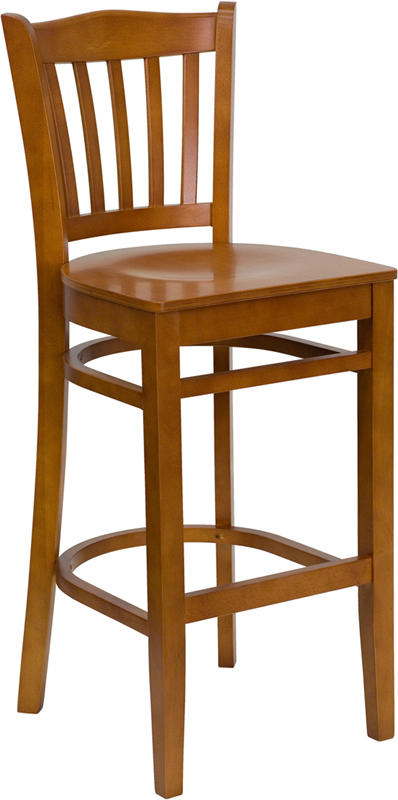 #15 - CHERRY WOOD FINISHED VERTICAL SLAT BACK RESTAURANT BAR STOOL WITH WOOD SEAT