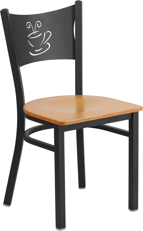 #83 - Black Coffee Back Metal Restaurant Chair with a Natural Finish Wood Seat