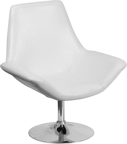 #42 - Contemporary Design White Leather Reception Lounge Chair - Office Lounge Chair