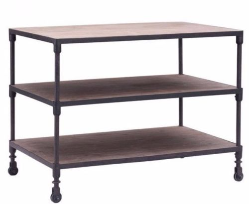 #113 - Industrial Style Wide Three Level Shelf in Distressed Natural Reclaimed Elm Wood